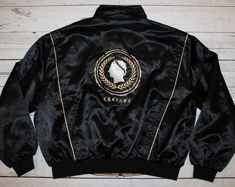 cb59a9872e22 Caesars Palace Vintage Black and Gold Reversible Embroidered Satin Jacket