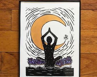 Blissful Mind *framed* lino cut block print