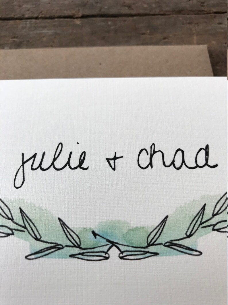 Minimalist Watercolor Greenery Outdoors Woodland Wreath Rustic Wedding Thank You Cards  Personalized with Bride and Groom Name  Leaf