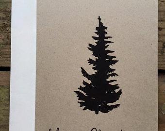 Rustic Christmas Tree Merry Christmas Cards / Christmas Cards / Set of 10 / Holiday Cards / Greeting Cards