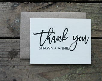Wedding Thank You Cards Personalized with Bride & Groom Names / Wedding or Engagement Thank You Notes / Bridal Shower Couples Gift
