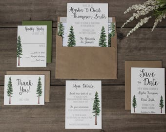 Rustic Tree Wedding Invitation, Woodland Invitation Set, Redwood Forest Wedding Suite Wrapped in Twine, Recycled Invite