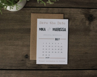 Small, Rustic, Calendar Save the Date Invitations / Simple Save the Dates / Wedding Invitations / Magnet Save the Date