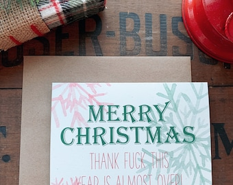 Funny 2020 Christmas Cards, Worst Year Ever, Snarky Greeting Card, Sense of Humor, Dumpster Fire, Merry Christmas, Happy Holidays Red Green