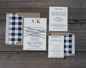 Monogram Luxury Wedding Invitation with Plaid Liner and Twine Accents on Linen Card Stock, Personalized for a Rustic or Neutral Wedding