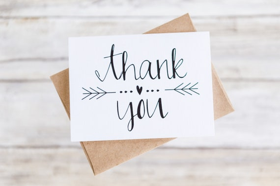 Thank You Cards With Envelopes Wedding Shower Etsy