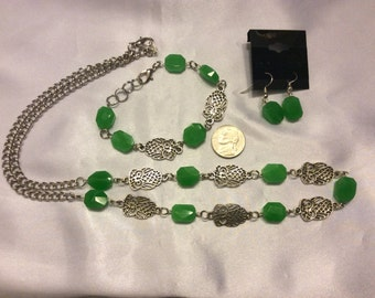 Green Jade and Owls Matching Necklace, Bracelet, and Earrings