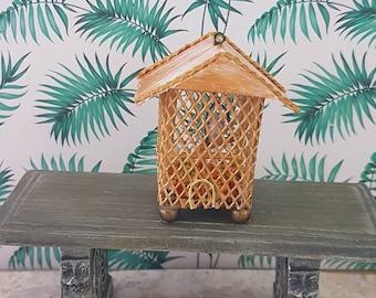 Dollhouse miniature birdcage with tiny bird, 1/12 scale