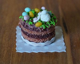 Dollhouse Miniature Easter Bunny Cake 1:12 Scale Dollhouse