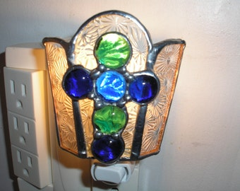 Glass easter gifts etsy lt stained glass blue and green nugget cross night light lamp with textured glass background my hand made in the usa easter unique gift negle Image collections