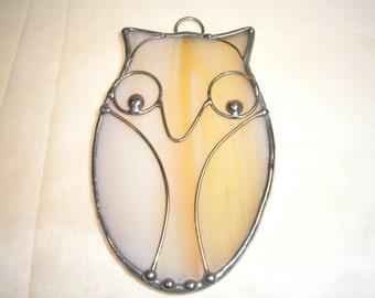 LT Stained glass Owl sun catcher light catcher made with light tan cream opal glass