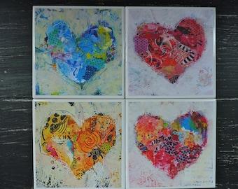 Ceramic Coasters, Heart Decor, Home Decor, Decoupage, Drink Coasters, Waterproof, Square Coasters, Colorful Hearts