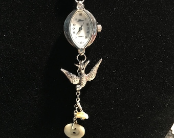 Silver Watch with Charms Pendant