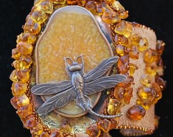 Baltic Amber dragonfly bracelet cuff