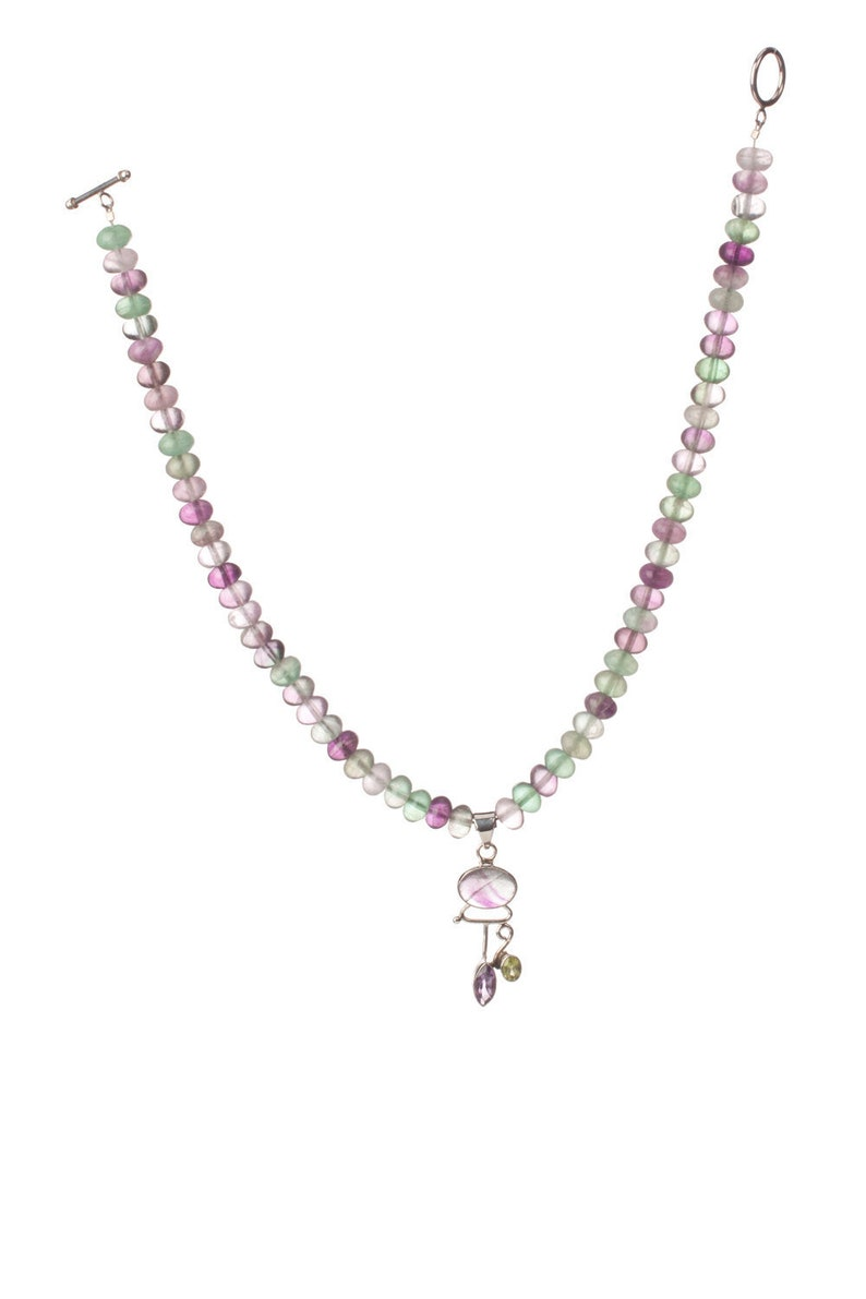 Fluorite and Sterling Necklace with Faceted Peridot and image 0