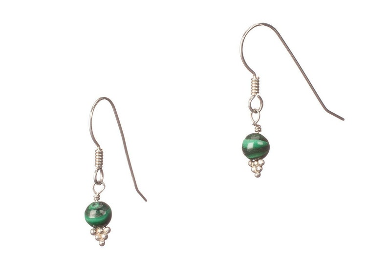 Malachite and Sterling Earrings  EMPOWERING image 0