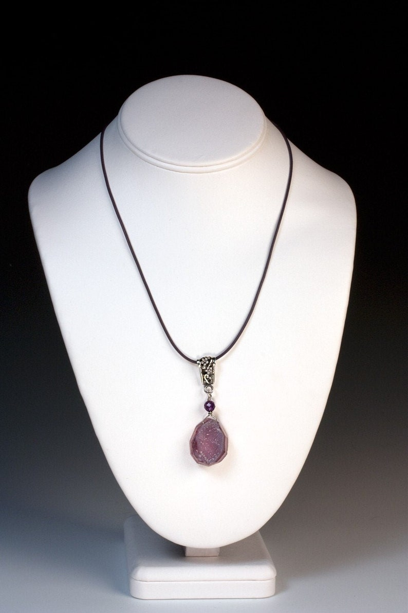 Purple Chalcedony Drusy Amethyst and Sterling Pendant  image 0
