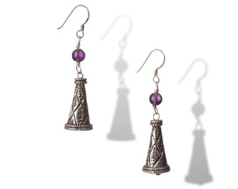 Cone Bead & Amethyst Sterling Earrings - The Faintest Ringing in My Ear - Free US shipping