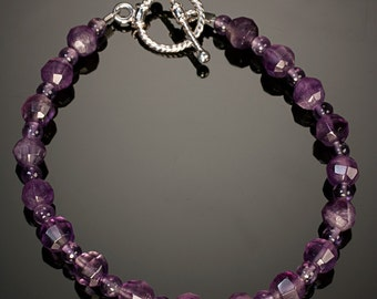 Amethyst and Sterling Silver - PROTECTIVE - Free US shipping