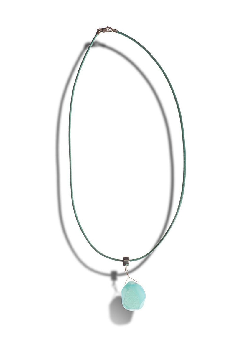 Seafoam Chalcedony Stone with Druse / Drusy & Sterling Pendant image 0