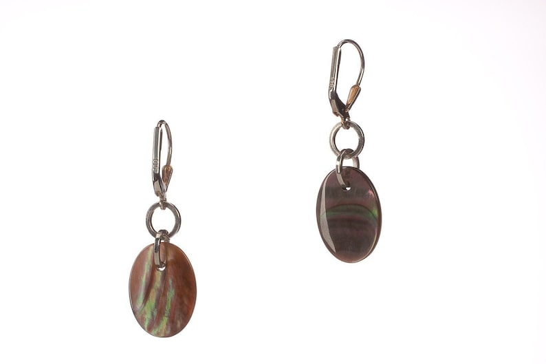 Mother of Pearl and Sterling Silver Leverback Earrings  image 0