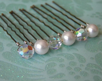 6 Swarovski 8mm White Pearls and Crystals AB Hair Pins
