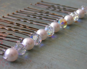 12 Swarovski 8mm White Pearls and Crystals AB Hair Pins