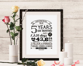 "Personalized Typography anniversary gift with names and date ""I Have Loved You For"" - 8x10 Digital JPG file printable - Print at Home"