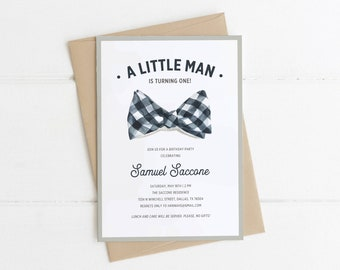 Little Man Birthday Invitation First Boy 1st Invitations Bowtie