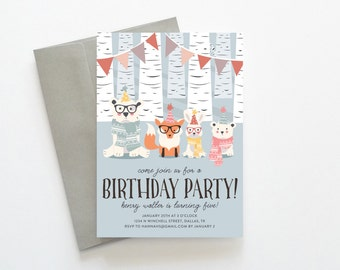 Birthday Party Invitation, Woodland Creature Winter Birthday Invitations, Printable Birthday Invitations, Unique Birthday Party Invite PDF