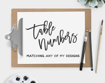 Custom Wedding Table Numbers Design - Make Your Own Wedding Suite - Printable PDFs