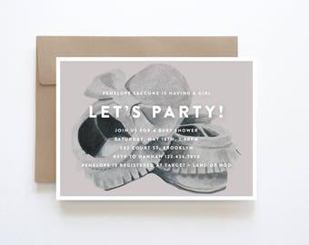Girl Baby Shower Invitations, Baby Shoe Invitation, Mocassin Baby Shower Invitation, Baby Shower Invitation Girl, Modern Baby Shower Invite