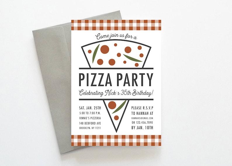 Pizza Party Invitation Pizza Party Invite Pizza Invitation Etsy