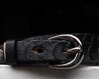 Thin black handmade leather belt, Men's black dress belt, Women's thin belt, premium skinny belts