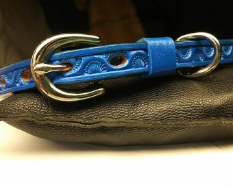 Blue leather dog collar, medium dog collar, leather pet collar, custom tooled blue tag collar, tag collar