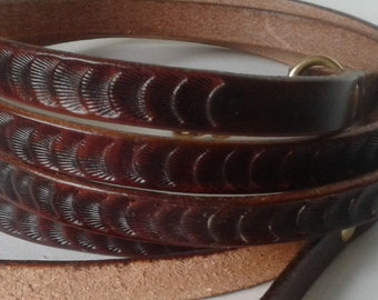 Dark brown leash , leather leash , custom tooled leather leash , petite dog leash , lead , leashes , leather , extra long leash
