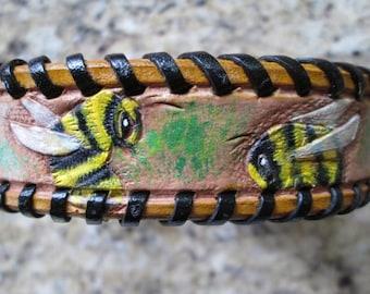 Handmade collar, Small dog collar, leather bumblebee theme collar