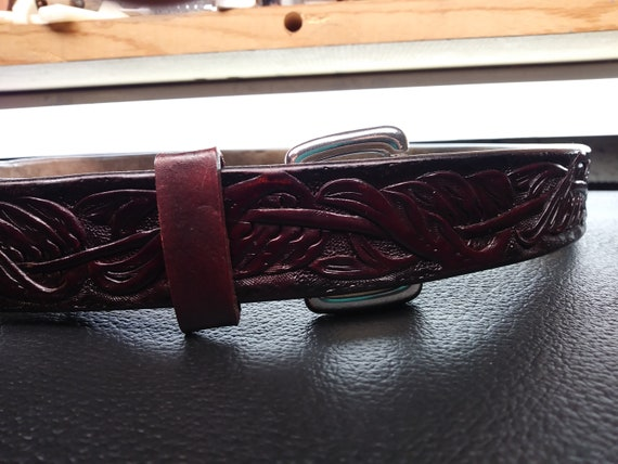 Maroon Red Men Women Leather Belt Formal or Denim style hand patina