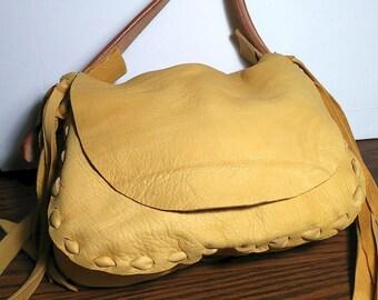 Handmade deerskin leather handbag, Deerskin boho handbag, Southwestern deerskin shoulder bag