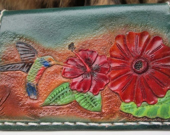 Hummingbird card case , leather case , Ladies mini wallet , custom tooled wallet , business card holder , mini wallet