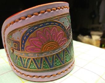 Women's bracelet cuff, copper cuff, leather cuff, copper and leather bracelet cuff