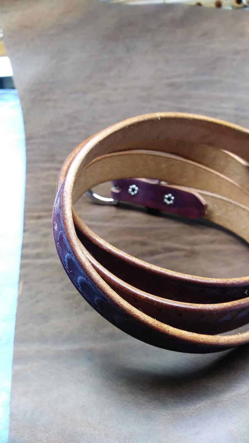 Leather belts purple belts thin leather belts violet belt skinny belts Mens belts scallop belt Women/'s belts
