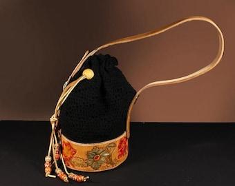 Drawstring handbag with custom tooled floral design and crocheted upper, Unique handbag,