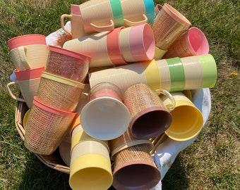 Mug Raffiaware Thermotemp Coffee Mug Ribbing Plasticware Picnicware Camping Summertime BBQ Colorful