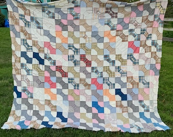 """Quilt Top Bow Ties Hand Stitched 1940s Size 86"""" x 79"""" Squares 6""""x6"""" Plaid Gingham Stripes"""