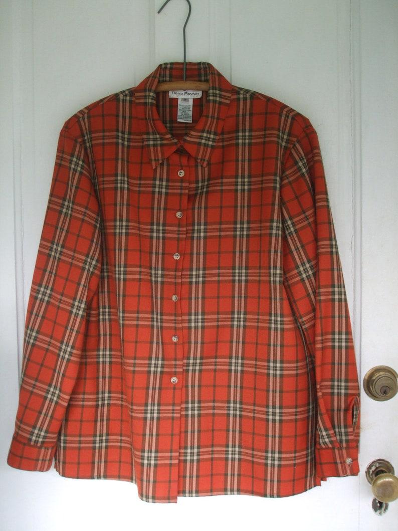 Plaid Blouse Autumn Rust Plaid Rena Rowan ON SALE 50/% Off