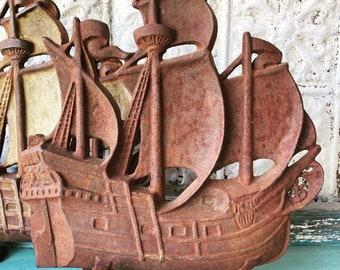Door Stop Spanish Galleon Cast Iron Sailing Ship Full Sails Albany Foundry Rust Patina
