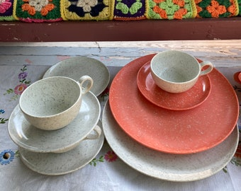 Dishes Melmac Melamine Plasticware Picnicware Camping Summertime BBQ Orange and White
