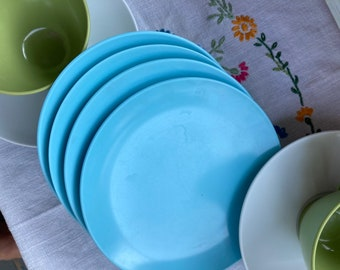 Dessert Plates Set of Four Blue Plasticware Picnicware Camping Summertime BBQ Colorful