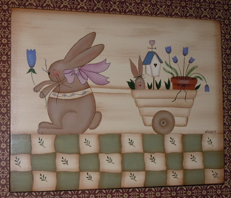 Folk Art Primitive Hand-Painted Bunny Rabbit Cart Flowers Birdhouse
